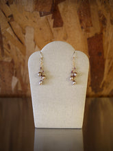 Elaborate Pearls, Garnet Crystal, and Pyrite Earrings by Elise Peters