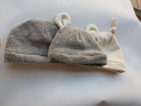 Wheat or grey textured baby beanie