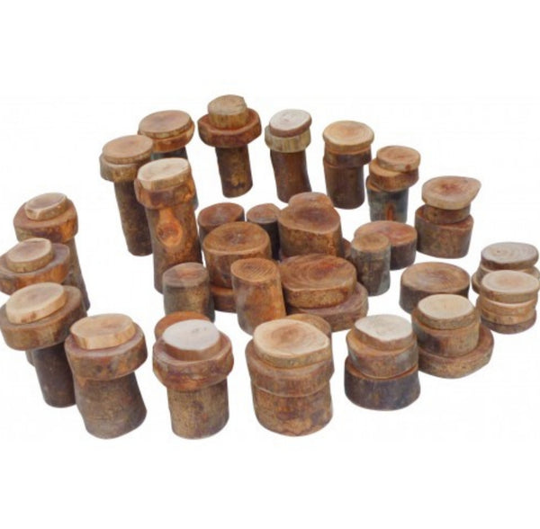 Natural wooden tree blocks