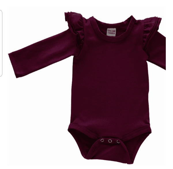 Long Sleeve Body Suits - Wine