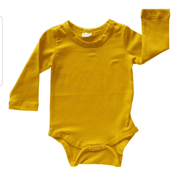 Long Sleeve Body Suits - Mustard