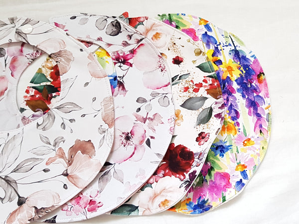Floral round reversible dribble bibs with bamboo absorbancy