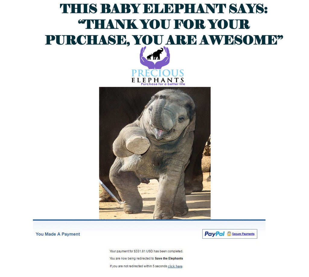 Thank you for your support - Elephants Donation