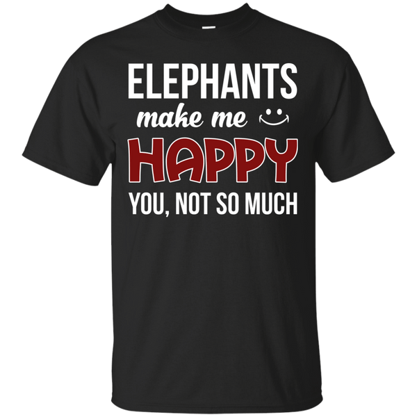 Short Sleeve - Unique Cotton Elephants Make Me Happy Tee