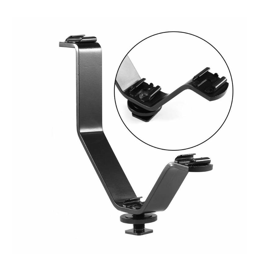 V-shape Triple Hot Shoe Mount Flash Bracket
