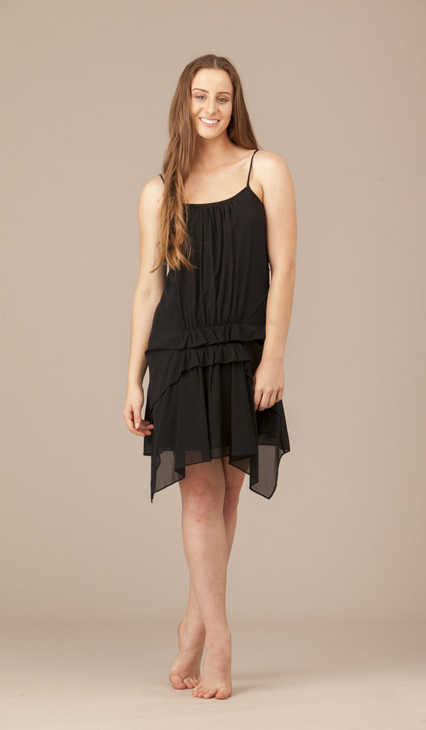 Margerite Reverse Short Silk Ruffle Dress.  SOLD OUT.