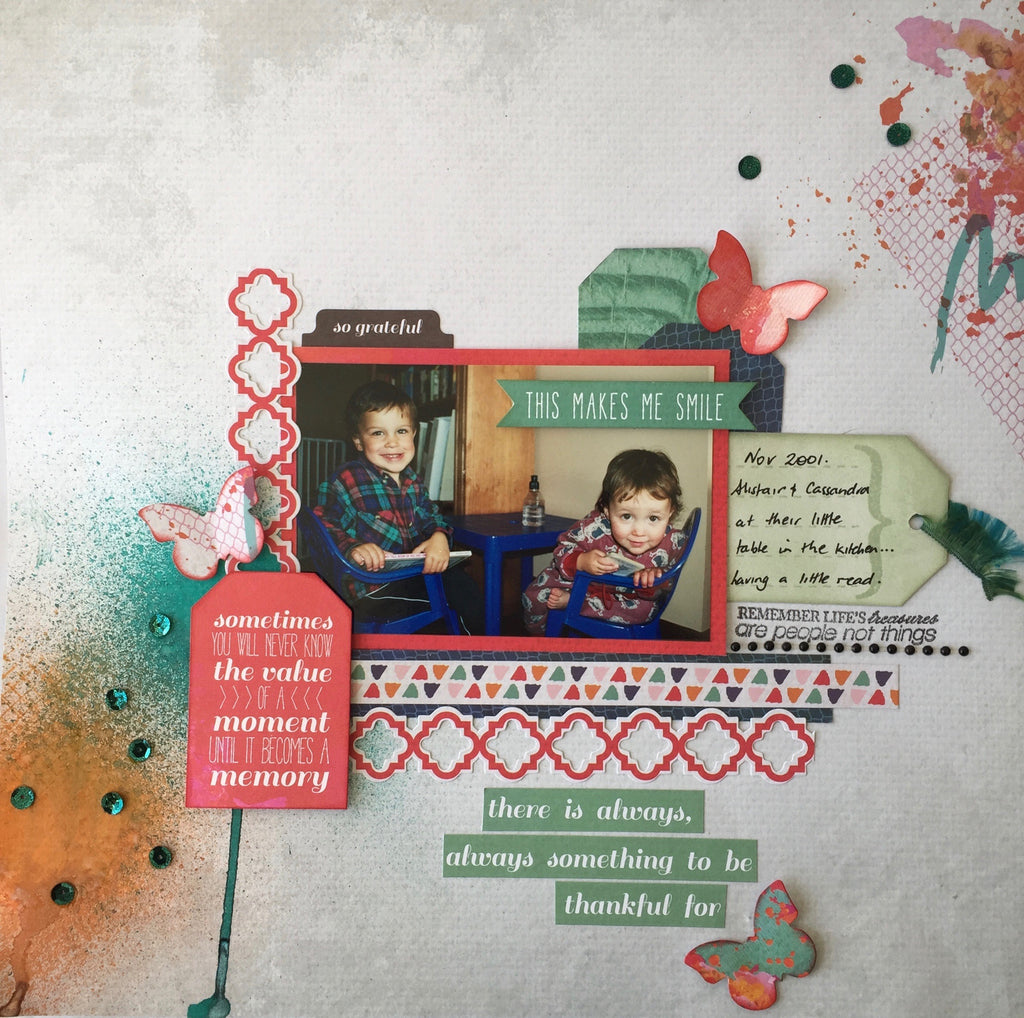 February 2017 Scrapbooking class- Chase Rainbows range