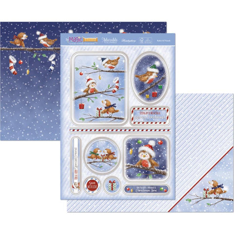 Hunkydory Classic Christmas Luxury A4 Topper Set - Robin & Friends