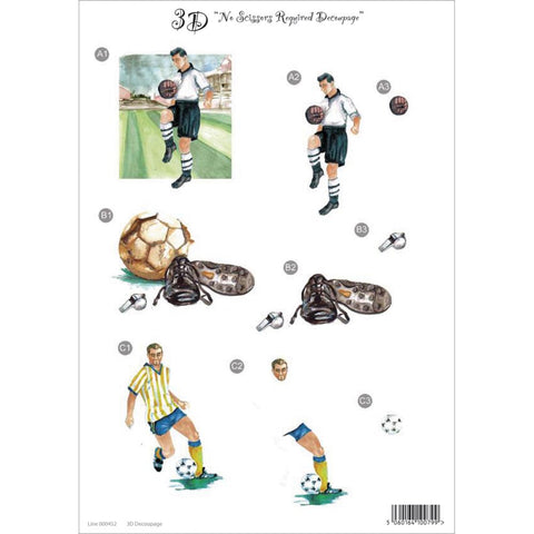 "3D Die-Cut Decoupage Sheet 8.3""X11.69"" - Soccer"