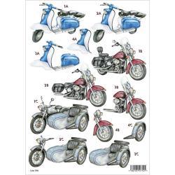 "3D Die-Cut Decoupage Sheet 8.3""X11.69""- Motorcycles"