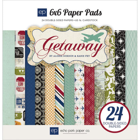 "Echo Park Double-Sided Paper Pad 6""X6""- Getaway, 12 Designs/2 Each"