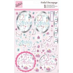 Anita's A4 Foiled Decoupage Sheet -  21st Birthday