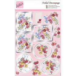 Anita's A4 Foiled Decoupage Sheet -  Roses & Bells