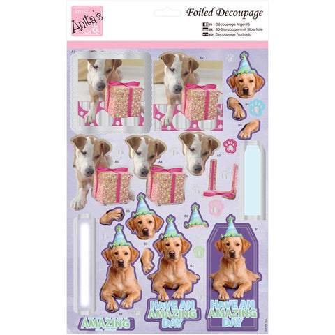 Anita's A4 Foiled Decoupage Sheet - Party Pooches