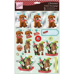 Anita's A4 Foiled Decoupage Sheet - Christmas Hounds