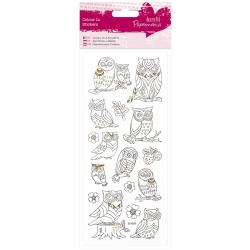 Papermania Glitter Colour In Stickers Owls