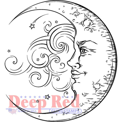 "Deep Red Cling Stamp 2""X2"" - Crescent Moon"