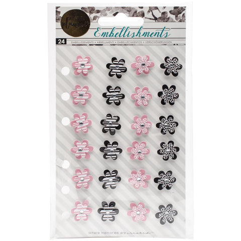 "My Prima Planner Mini Flowers .65"" 24/Pkg - Pink & White, Black & White"