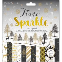 "Dovecraft Time To Sparkle 8""X8"" Paper Pad 36 sheets 12 Designs/3 Each"