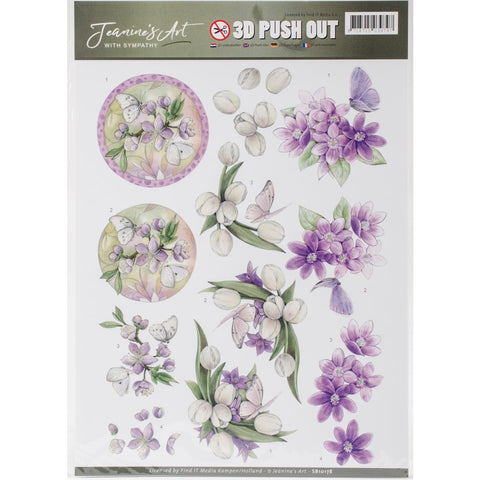 Find It Jeanine's Art With Sympathy Punchout Sheet - Violet Flowers