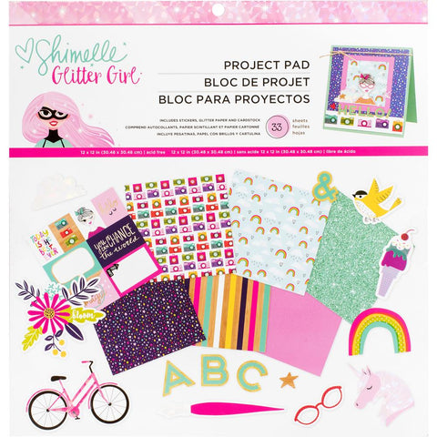 "Shimelle Glitter Girl Project Pad 12""X12"" 33/Pkg"