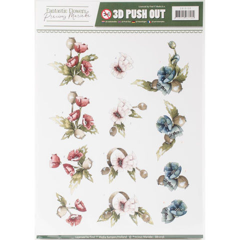 Find It Precious Marieke Flowers 2 In Pastels Punchout Sheet