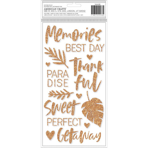 "Wild Heart Thickers Stickers 5.5""X11"" 96/Pkg - Phrases & Icons/Copper Glittered Foam"