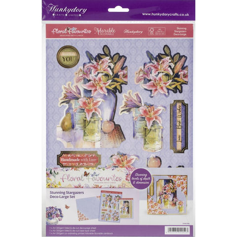 Hunkydory Floral Favorites A4 Decoupage Set - Stunning Stargazers