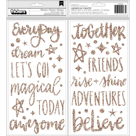 Shimelle Head In The Clouds Thickers Stickers 5.5X11 76/Pkg - Adventures/Phrases/Foam/Gold Glitter