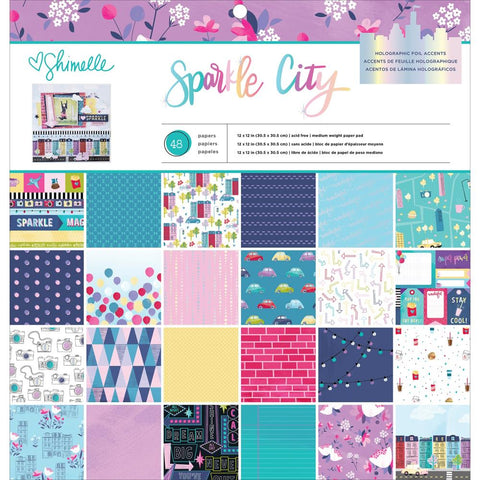 "American Crafts Single-Sided Paper Pad 12""X12"" 48/Pkg - Shimelle Sparkle City, 24 Designs/2 Each"