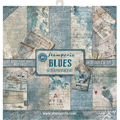Blues- Stamperia - 12x12 (30.5 x 30.5cm) -10 double-sided sheets- 170gsm