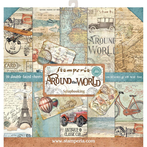 Around the World- Stamperia - 12x12 (30.5 x 30.5cm) -10 double-sided sheets- 170gsm