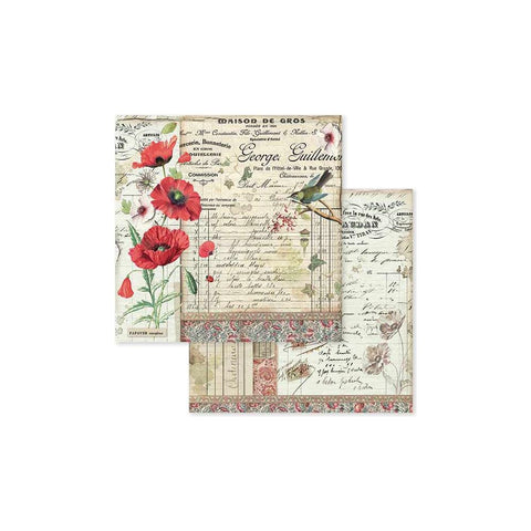 "Spring Botanic W/Poppy & Little Bird -Stamperia Double-Sided Cardstock 12""X12"""