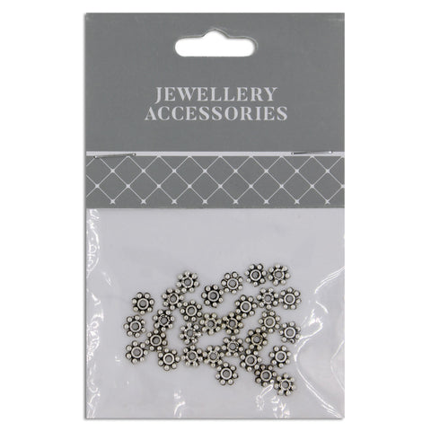 Jewellery Basics, Daisy Spacer, 7mm, Silver, 20 pieces