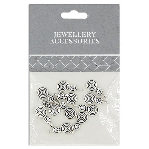 Jewellery Accessories, Charm double swirl, 18mm , Silver, 12pc