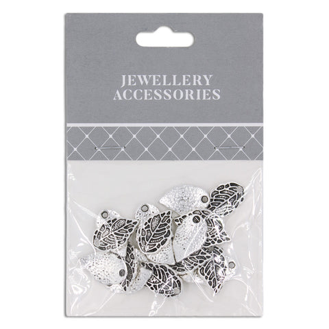 Jewellery Accessories, Leaf 17mm , Silver, 20pc