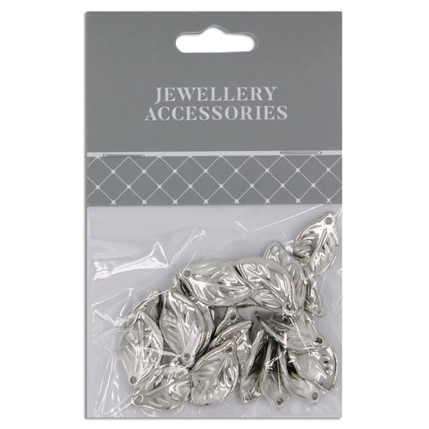 Jewellery Accessories, Leaf 20mm , Silver, 20pc