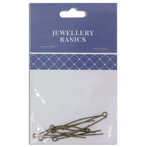 Jewellery Basics, Eye Pin 35mm Boho Gold, 10 pieces