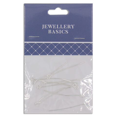Jewellery Basics, Eye Pin 35mm Silver, 10 pieces