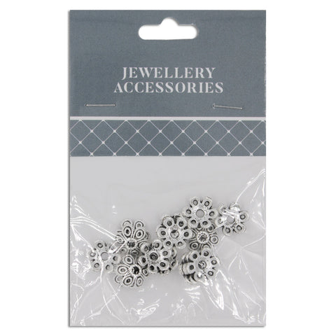 Jewellery Basics, Flower Bead Cap, 10mm, silver, 15pcs