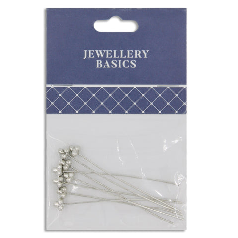 Jewellery Basics, Decorative Head Pins 55mm Dark Silver, 8pcs