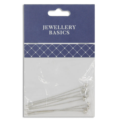 Jewellery Basics, Decorative Head Pins 55mm Dark Silver, 8pcs (smaller head)