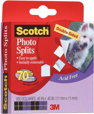 "3M Scotch Adhesive Squares Double-Sided 850/Pkg-.45"" X.45"