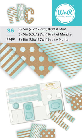 "We R Memory Keepers 3"" x 5"" Paper Pad - Kraft With Mint Foil"