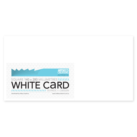 Square Card 14cm (not scored) - 140 x 280mm - White - 280gsm - 50 pack