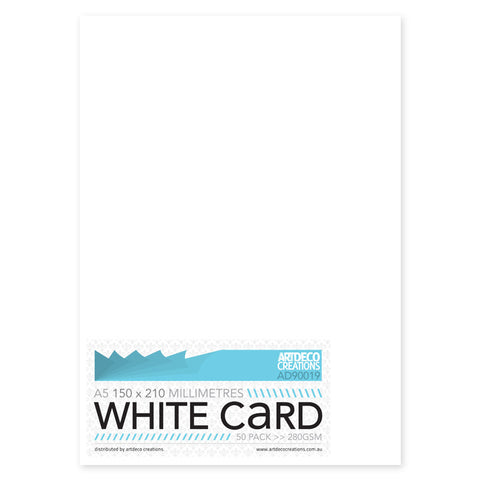 A5 Card (not scored) - 150 x 210mm - White - 280gsm - 50 pack