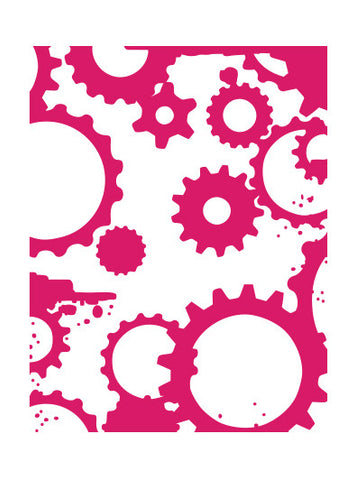 A2 Grungy Cogs n Gears - A2 Embossing Folders -Mikashet Collection