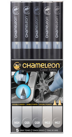 Chameleon Color Tones Markers- 5 Pen Grey Tones Set