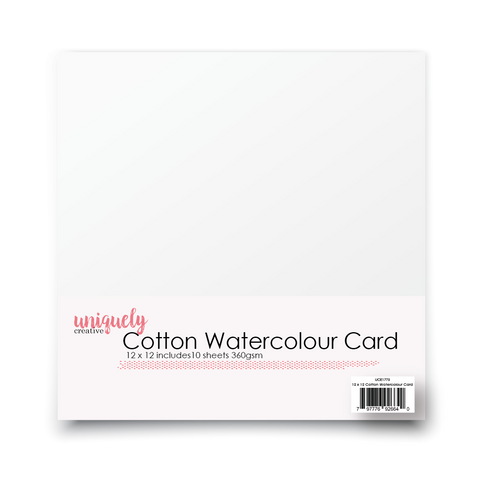 12 X 12 COTTON WATERCOLOUR CARD 360GSM X 10 SHEETS