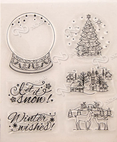 Let it Snow - Snow Globe- set of 6 stamps